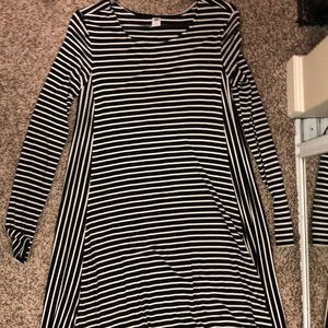 Black and white striped cotton long sleeve dress